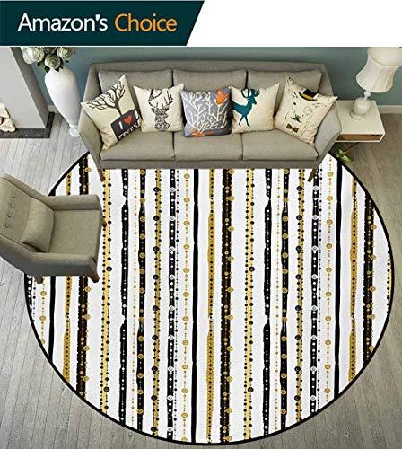 RUGSMAT Gestreifter runder Teppich, inspiriert von Lila, Abstrakter Kunstdruck, für drinnen und draußen, rund, Lavendelweiß, Polyester-Mischgewebe, Style-08, Diameter-47 -