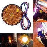 Auto Rücklicht Motorrad Runde Rücklicht 12V Rot 24 LED Brems Blinker Stop Rückleuchten Reflektoren (Gelb)