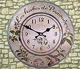 Rustikale Landhaus Wanduhr - Les herbes des Provence - 34 cm