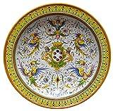 PIATTO con decorazione RAFFELLESCA con Stemma de' Medici centrale, in ceramica cm 49 di diametro, delle Ceramiche Artistiche Saltarelli di Montelupo Fiorentino.