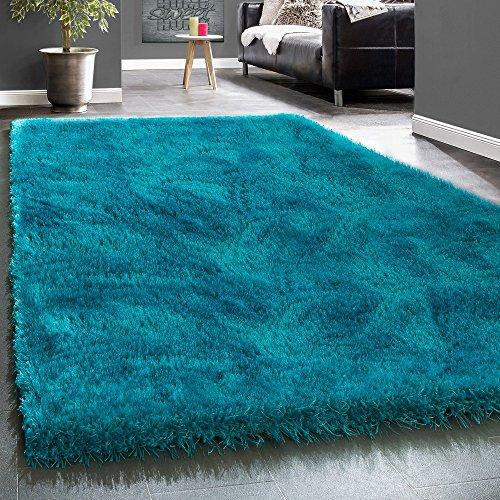 Paco Home Edler Teppich Shaggy Hochflor Einfarbig Flauschig Glänzend In Türkis, Grösse:10x10 cm Musterstück (Teppiche 10x10)
