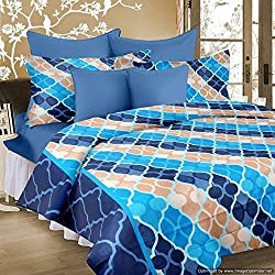 cotton double bed sheet with 2 pillow covers blue