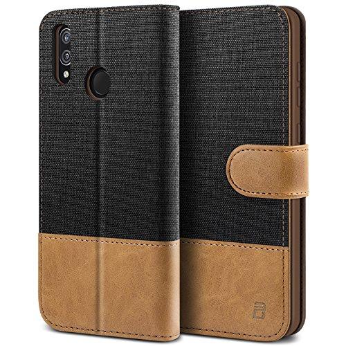 BEZ® Hülle für Huawei P20 Lite Hülle, Handyhülle Kompatibel für Huawei P20 Lite, Handytasche Schutzhülle Tasche Case [Stoff und PU Leder] mit Kreditkartenhaltern, Schwarz