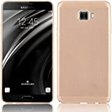 [Heat Dissipation] Case For Galaxy C7 Pro,Vandot [Breathable Air-Mesh] Cooling Case PC Hard Matte Ultra Lightweight Back Cover Anti-Scratch Shockproof Non-Slip Grip Practical Protective Exact Fit Cover Case for Samsung Galaxy C7 Pro-Gold