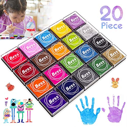 Ink Pad, Wokkol Christmas Stamps and Ink Pad, Christmas Ink Stamps 20 Colors Craft Scrapbooking Ink Stamp Pads, Non-Toxic Fingerprint Ink pad Set for Rubber Stamps, Paper, Fabric (20 Piece)