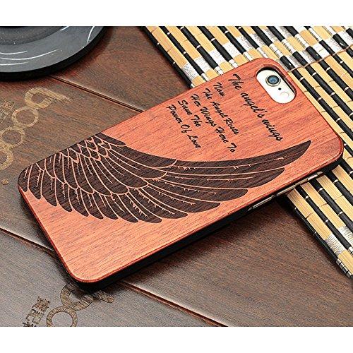 Forepin® Naturholz Hülle für iPhone 5 / 5G / 5S / SE,Ultra Dünne Echt Sandelholz und PC Hart Schale im Gravur Schnitzen Muster Elegantes Design Bumper Case Cover - Kompass Carving Muster Angle Flügel