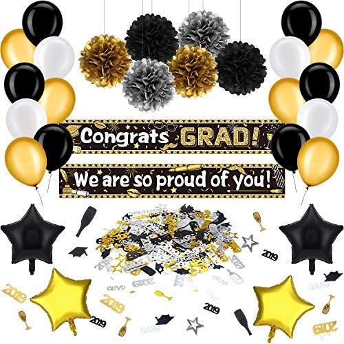 (36 Stücke Abschluss Partei Dekoration Kit Schwarz und Gold Abschluss Partei Lieferanten Congrats Grad Banner, Abschluss Ballons, Pompoms Blumen und Konfetti für Klasse von 2019)