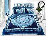 Bettbezug, Bettwäsche-Set:Paisley-Mandala, alle Größen, blau, King Size