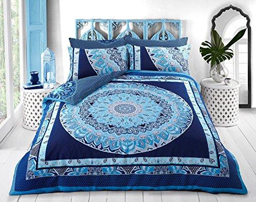 Bettbezug, Bettwäsche-Set:Paisley-Mandala alle Größen., blau, King Size