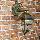 Antike Wand Außenleuchte Wandlampe mit Glas im Tiffany Stil eckig E27 230V Beleuchtung Außen Garten Hof