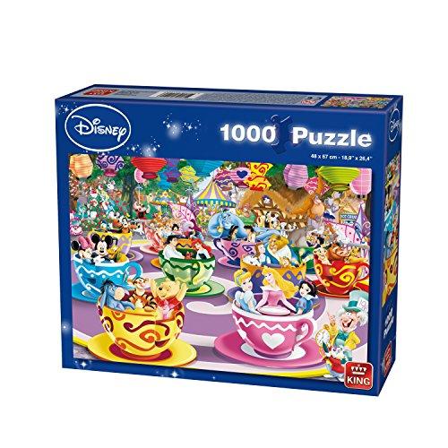 King Disney Mad Tea Cup 1000 pcs Puzzle - Rompecabezas (Puzzle Rompecabezas, Dibujos, Adultos, Hombre/Mujer, 8 año(s), Cartón)