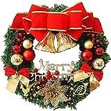 Coxeer Weihnachtskranz, Türkranz Weihnachten Weihnachtsdeko Kranz Weihnachtsgirlande mit Kugeln Handarbeit Weihnachten Garland Deko-Kranz (Mehrfarbig-Bell) - 9
