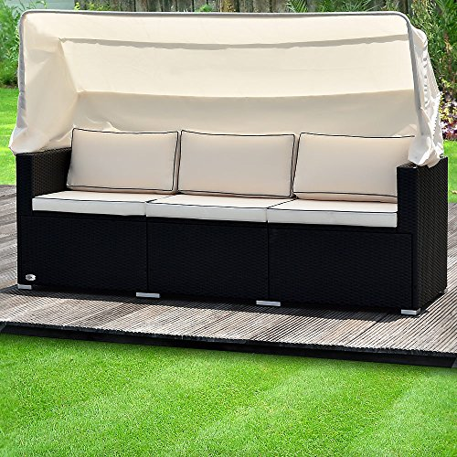 Poly Rattan Sofa Bench Day-Bed Black Outdoor Patio Wicker Furniture Comfortable Recliner Bed Chair with Sun Canopy