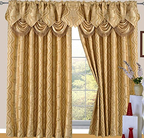 Raven Jacquard Rod Pocket Panel with Attached Valance and Backing, Gold, 55x84+18 -
