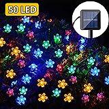 Catena Luminosa Solare Esterno, 50 LED Stringa Esterno Impermeabile illuminazione, 7M Luci Natalizie Fata Lampada per giardino feste matrimoni feste (Multi-colore)
