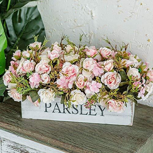 Jnseaol fiori artificiali con vaso incluso bagno da interno bouquet per esterno balcone rosa di rosa della decorazione domestica di nozze del regalo di natale