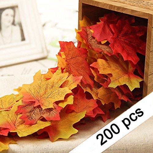 Yarssir 200Stück Gemischt Künstlichen Blättern Sortiert Fall Maple Leaf Multicolor Herbst Fall Blättern für Hochzeiten, Weihnachten Party, Veranstaltungen und Dekorieren (Fallen Blätter Künstliche)