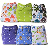 ArtOfLife Baby Cloth Diapers 6 Pack With 6 Inserts Adjustable Washable And Reusable Dipaers Fitted For Baby Girls And Baby Boys