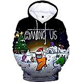 Sudaderas con capucha de Among Us, de color negro, para niños y niñas, deportiva, de manga larga, para Navidad, diseño del ju