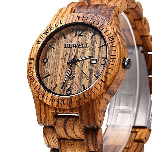 Image of Bewell ZS-W086B Wooden Watches Men Quartz Wrist Watch Day Date Watch (Brown)