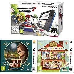 Pack Console Nintendo 2DS - noire et bleue + Mario Kart 7 + Animal Crossing : Happy Home Designer + 1 Carte Amiibo 'Animal Crossing' + L'Aventure Layton: Katrielle et la conspiration des millionnaires