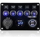 CT-CARID 5 Gang interrupteur à bascule Panneau, USB Double Socket chargeur 12V prise d'alimentation LED Voltmètre pour la voi