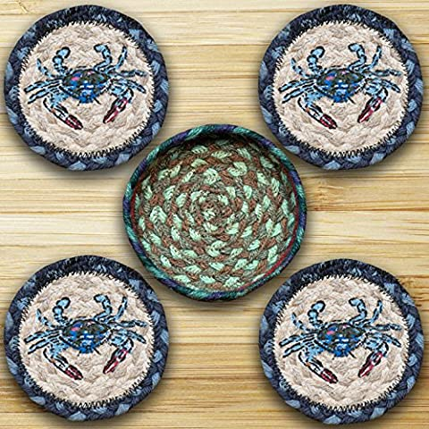 Earth Rugs 29-CB359BC Crab Design Round Jute Basket with 4-Printed