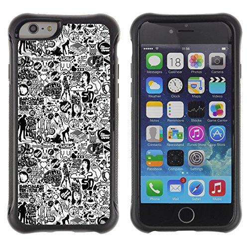 Graphic4You Black Music Piano Design Shockproof Anti-Rutsch Weichen Hülle Case Tasche Schutzhülle für Apple iPhone 6 / 6S Design #12