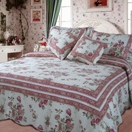DaDa Bedding DXJ103136 French Country Cotton 3-Piece Quilt Set, Twin, Floral by DaDa Bedding