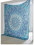 Bless-International Indian Hippie Ethnic Bohemian Psychedelic Blue Star Handmade Tapestry with eBook by Bless International