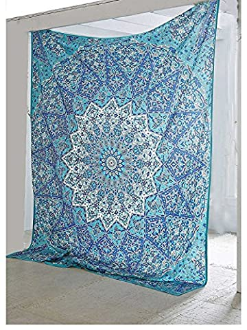 Traditional-wall-art Bohemian-psychedelic Star-mandala-wall-hanging-sky-blue Queen-size-large-84 X 90-inches-220 X 240-cm-tapestry