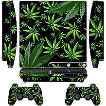 247Skins - Juego de skins para PS3 y mandos, diseño de hojas de marihuana, color negro