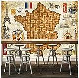 3D Tapete Wandbild Französisch Rotwein Eiche Plug Vintage Karte 3D Tapeten Für Restaurant Bar Wand Papier Tv Hintergrund Malerei Wandbild Tapete Seidenstoff 300X210cm,Ayzr