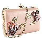 bennyuesdfd Abendtasche Damen Handtaschen Blumen Perlen Kupplungen Partei Hochzeit Abend Handtaschen (Rosa)