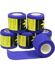 6 Rouleaux Bandage Cohésif 5cm x 4.5m, Sportif Blessures, Genouillères, Coudières, Médical Bandage - Bleu Foncé