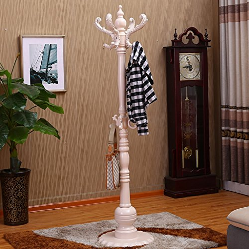 SKC Lighting-Porte-manteau Porte-manteau de plancher en bois massif moderne cintre minimaliste Ronde châssis vêtements Rack Bureau Accueil Vertical Hat Hat brun, blanc (42 * 42 * 180cm) ( Couleur : Blanc )
