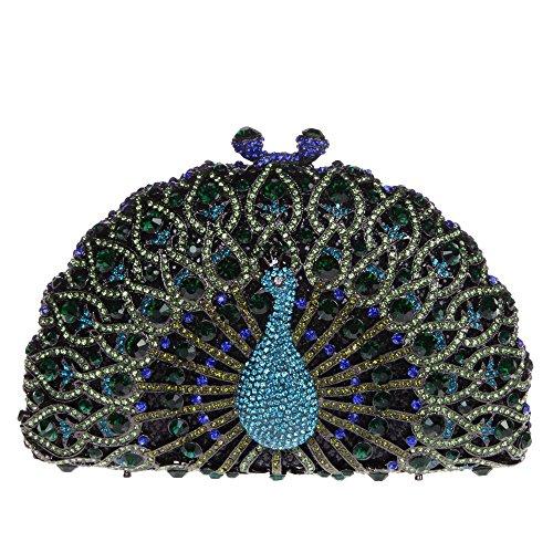 Santimon Donna Pochette Borsa Lusso Diamante Cristallo Pavone Borse Da Festa di Nozze Sera Con Tracolla Amovibile e Pacco Regalo 13 Colori verde