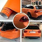 Autofolie Matt Orange 152cm breit BLASENFREI mit Luftkanäle 3D Flex Folie Auto