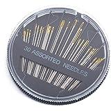 nuoshen Lot de 30 Aiguilles Couture, Aiguilles à Main Aiguilles à Coudre Aiguille de Queue d'or - 29mm, 36mm, 41mm, 42mm, 46m