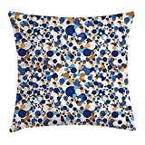 FAFANI Confetti Throw Pillow Cushion Cover, Abstract Circle Round in Color Bubble Retro Celebration Design, Decorative Square Accent Pillow Case, 18 X 18 Inches, Navy Sky Blue Apricot Cinnamon