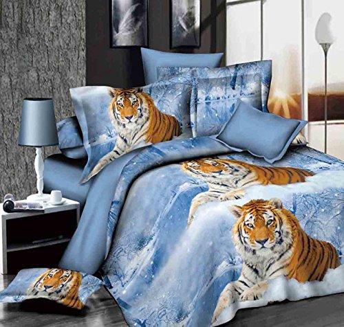 3D Winter Tiger weiß Schnee Betten Set Animal Prints 4Piece Bettbezug-Set Queen Size Tröster Bezug Set (Blau, Großes Bett Tröster Set)