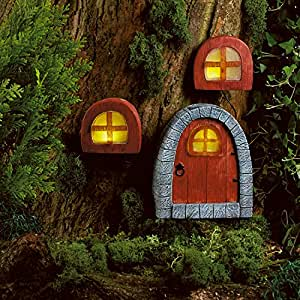 Solar powered fairy door windows led garden light for Amazon uk fairy doors