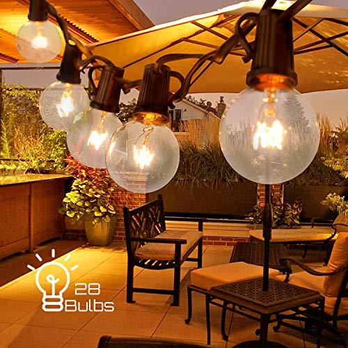 ACCEWIT G40 Lichterkette für Außenlichter, wasserdicht, IP44, 7,62 m / 25 m lang, 28 Glühlampen,...