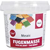 Rayher 1460100 Pâte à joint mosaique , blanc, 1 pot 500g, surface 3-5 m2, qualité fine 1A, ciment à reconstituer avec de l'ea