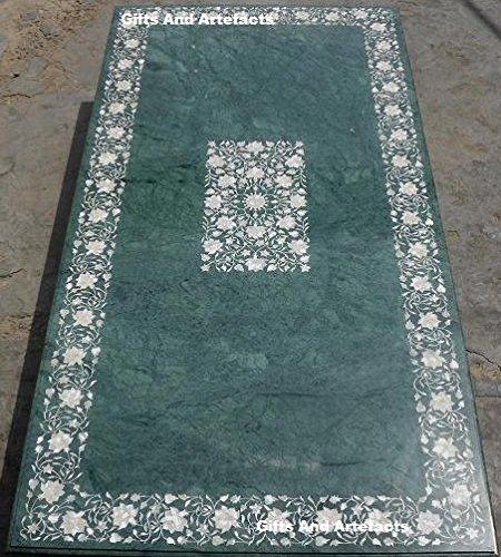182,9x 91,4cm grün marmor Konferenz Tisch Top Perlmutt Steine Einlage Floral Design