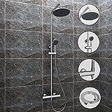 Edelstahl Duschset Brausegarnitur mit Thermostat + Duschstange + Handbrause + Überkopfbrause + Duschschlauch