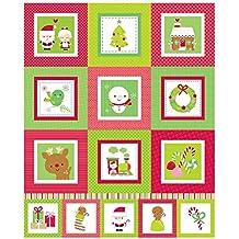 Panel de Navidad rojo y verde–Tela de Navidad panel Kit–rbf550–por Riley Blake–100% algodón