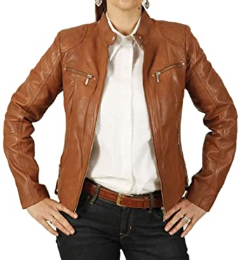 Simons Leather Ladies Tan Leather Biker Jacket With Quilting ...