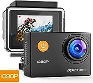 APEMAN Action Cam Full HD 1080P con Custodia Impermeabile Subacqueo Action Sport Camera 170°Grandangolare e Kit Accessori per