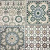 Grandeco Botanisch Marokkanische Kachel Muster Tapete Retro Blumenmuster Texturiert Motiv - Grün BA2502